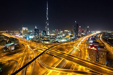 Road junction in Dubai